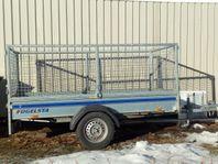 UTHYRES - Släpvagn med höga gallersidor, obro