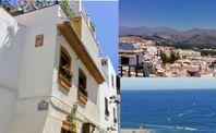 Hus historiska Almuñécar, vy över hav & berg