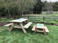 Bänkbord, picknickbord, bänk, utemöbel