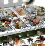 Flugaskar med utvalda mixade flugor