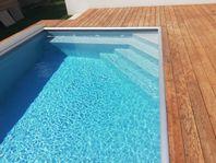 3x6 PP Pool paket med pooltak klarglas och poolvärmepump