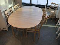 FYNDA Svensktillverkat matbord i björk med 4st stolar 50%